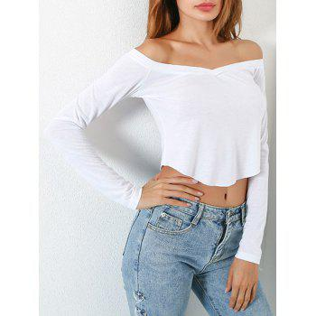 Long Sleeve Off Shoulder Fitted Crop Top - WHITE S
