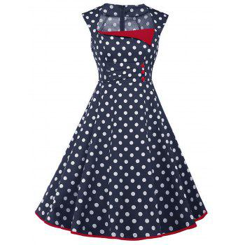 Vintage Polka Dot Sleeveless Dress with Buttons