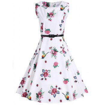 A Line Floral Vintage Dress with Belt - WHITE WHITE