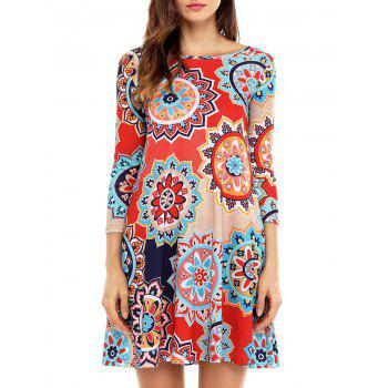 Ethnic Floral Printed Flare Dress