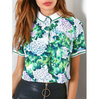 Print Short Sleeve Button Up Polo T-shirt