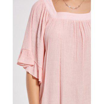 Square Collar Bell Sleeve Mini Dress - LIGHT PINK LIGHT PINK