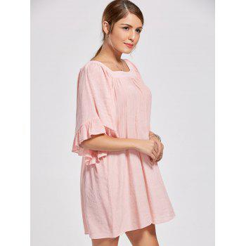 Square Collar Bell Sleeve Mini Dress - 2XL 2XL