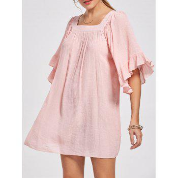 Square Collar Bell Sleeve Mini Dress - LIGHT PINK 2XL