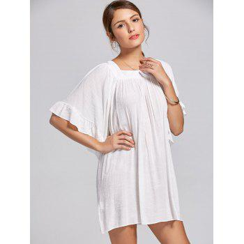 Square Collar Bell Sleeve Mini Dress - WHITE WHITE