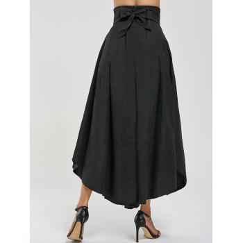 High Waisted Pleated Slit Maxi Skirt - BLACK L