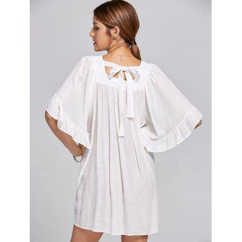 Square Collar Bell Sleeve Mini Dress - M M