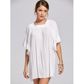 Square Collar Bell Sleeve Mini Dress - XL XL