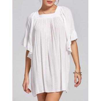 Square Collar Bell Sleeve Mini Dress - WHITE XL