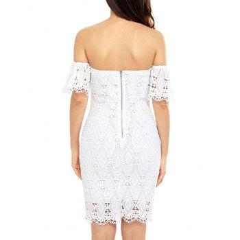 Sheath Off The Shoulder Lace Dress - WHITE L