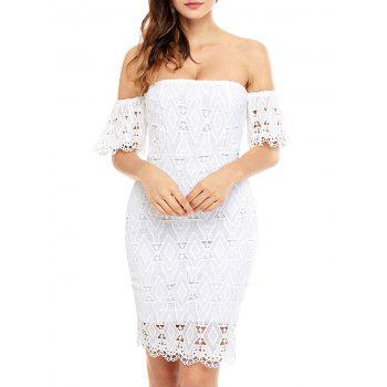 Sheath Off The Shoulder Lace Dress - WHITE M