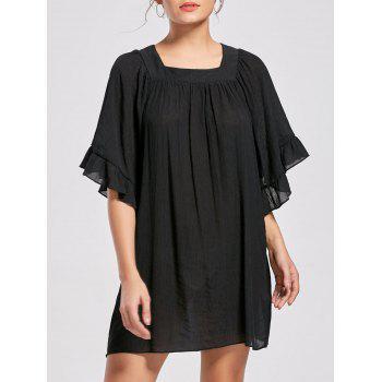 Square Collar Bell Sleeve Mini Dress - BRIGHT BLACK L