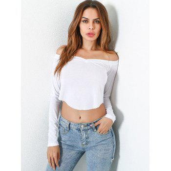 Long Sleeve Off Shoulder Fitted Crop Top - WHITE M