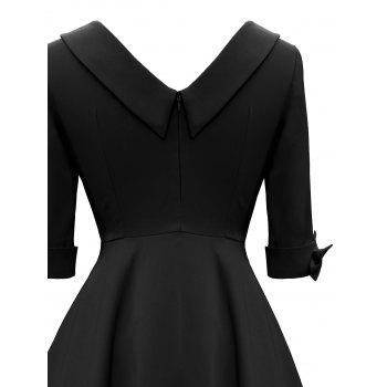 Vintage Bowknot Mid Calf Dress - BLACK M