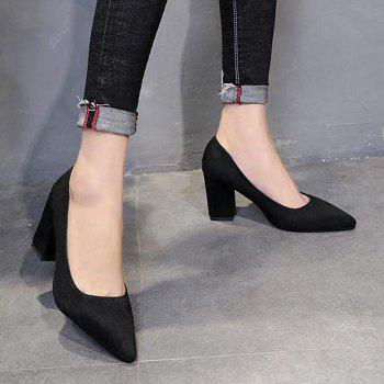 Block Heel Pointy Pumps - BLACK 41