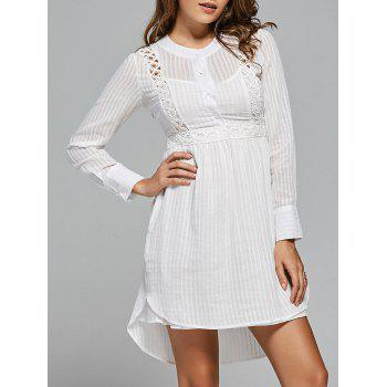 Lace Panel High Low Long Sleeve Dress - WHITE L