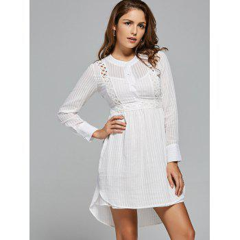 Lace Panel High Low Long Sleeve Dress - L L
