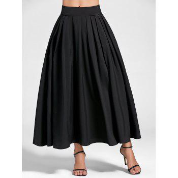 High Waist A Line Pleated Skirt - BLACK BLACK