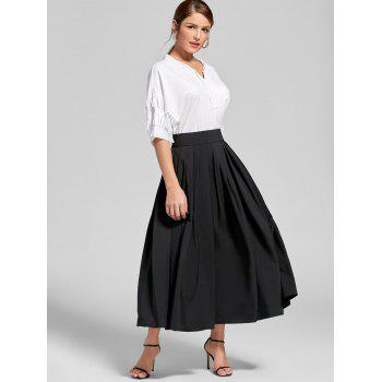 High Waist A Line Pleated Skirt - L L