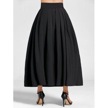 High Waist A Line Pleated Skirt - BLACK XL