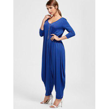 V Neck Draped Cut Out Baggy Jumpsuit - BLUE L