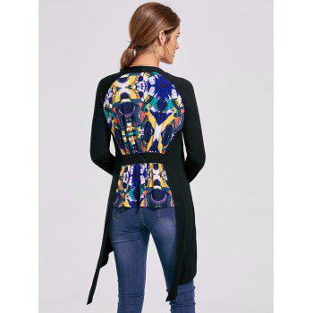 Open Front High Low Printed Cardigan - 2XL 2XL