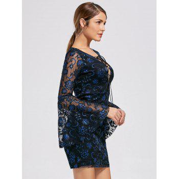 Flare Sleeve Lace Up Lace Dress - L L