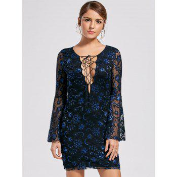 Flare Sleeve Lace Up Lace Dress - BLACK BLACK