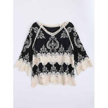 Embroidered Crochet Insert Scalloped Top