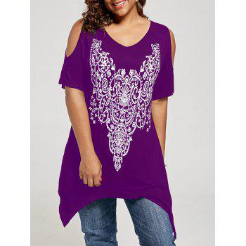 Plus Size Graphic Cold Shoulder Tunic Top