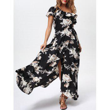 Flounce High Slit Skew Neck Maxi Dress