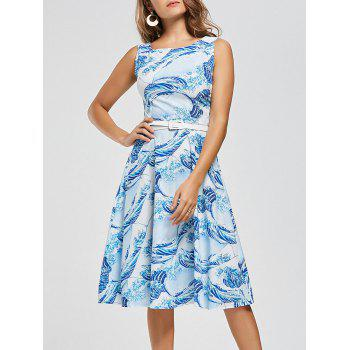 Retro Sea Wave Print High Waist Skater Dress