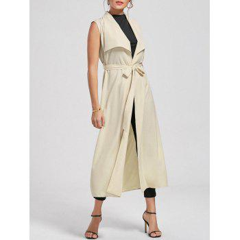 Sleeveless Maxi Waterfall Trench Coat