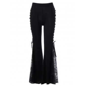 High Waisted Lace Up Bell Bottom Pants - BLACK 2XL