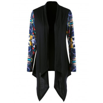 Shawl Collar Asymmetric Printed Cardigan