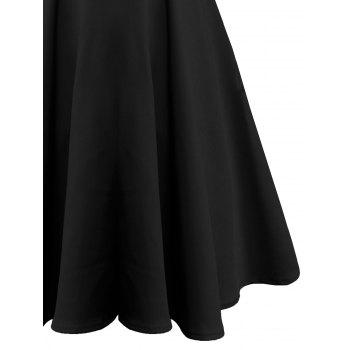 Vintage Bowknot Mid Calf Dress - BLACK 2XL