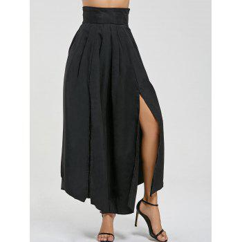 High Waisted Pleated Slit Maxi Skirt - BLACK S