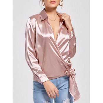 Casual Self Tie Wrap Blouse