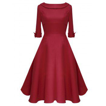 Vintage Bowknot Mid Calf Dress - RED RED