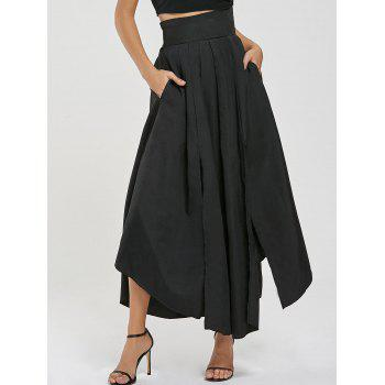 High Waisted Pleated Slit Maxi Skirt