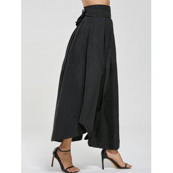 High Waisted Pleated Slit Maxi Skirt - BLACK BLACK