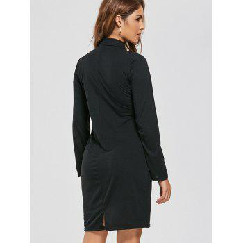 Long Sleeve Fitted Tied Dress - S S