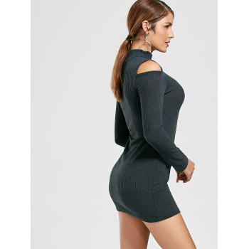 Cold Shoulder Mini Bodycon Sweater Dress - DEEP GRAY DEEP GRAY