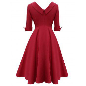 Vintage Bowknot Mid Calf Dress - RED L