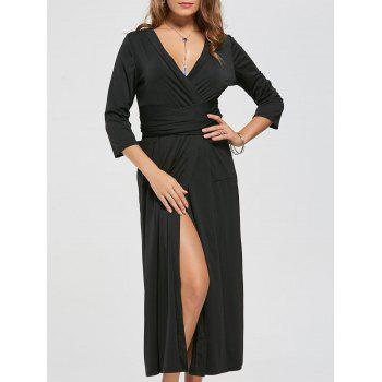 V Neck Pockets High Slit Midi Surplice Dress - BLACK XL