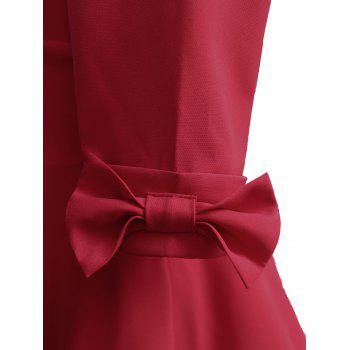 Vintage Bowknot Mid Calf Dress - RED M
