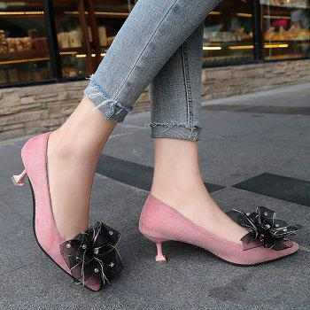 Pointe au pied de l'arc Accent Faux Suede Pumps - ROSE PÂLE 38