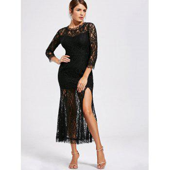 See Thru High Split Lace Party Dress - M M
