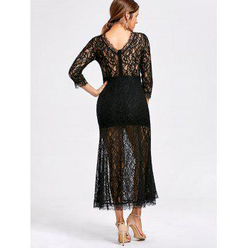 See Thru High Split Lace Party Dress - L L
