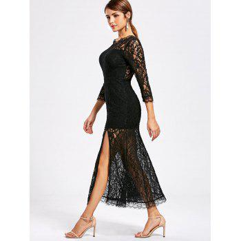 See Thru High Split Lace Party Dress - Noir L